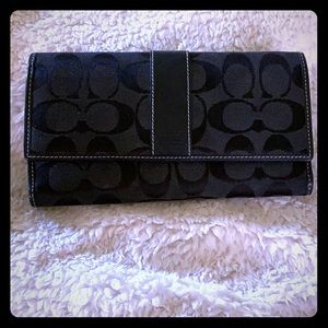 Black Coach fabric wallet